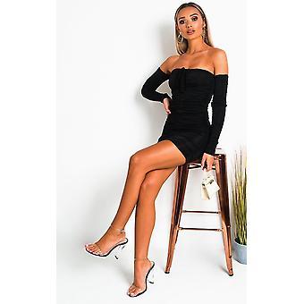 IKRUSH Womens Zeena Ruched Off Shoulder Bodycon Dress