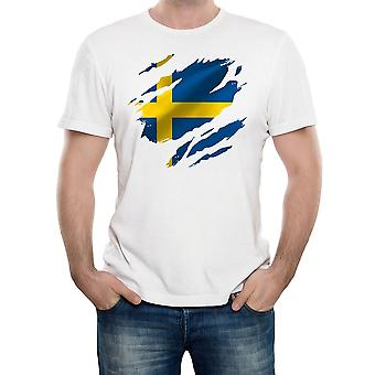 Reality glitch torn sweden flag mens t-shirt