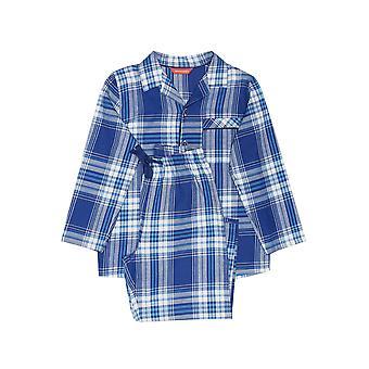 Minijammies 6462 Boy's Buzz Blue Check Cotton Woven Pyjama Set