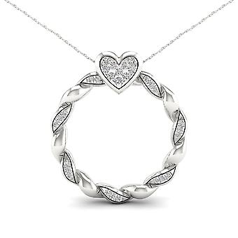 Igi certified 10k white gold 0.10ct tdw diamond circle heart necklace
