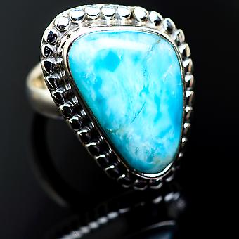 Larimar Ring Size 6 (925 Sterling Silver)  - Handmade Boho Vintage Jewelry RING985531