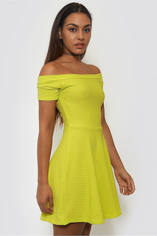 Helix Green Neon Bardot Skater Dress