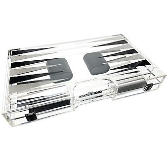 OnDisplay Luxe Acrylic Backgammon Set - Deluxe Portable Folding Game Set with Dice and Cups  (Black/White)