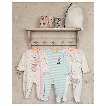 Essential One 3-pakkaus Blinky Bunny teacup-Sleepsuits