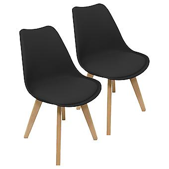 Charles Bentley Paar plastic tulp PU eetkamerstoelen in zwarte Scandi Retro Bureau Keuken Solid Wood Legs Cushion Seat H82cm
