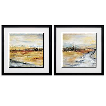"""17"""" X 17"""" Silver Frame Silver River (Set of 2)"""