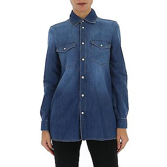 Red Valentino Tr3db00b4tw568 Women's Blue Cotton Shirt