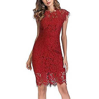 Women's Sleeveless Floral Lace Slim Evening Cocktail Mini Dress, Red, Size Small