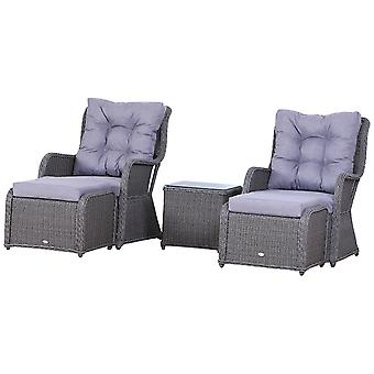 Outsunny Deluxe Garden Rattan Furniture Sofa Chair & Stool Table Set  Patio Wicker Weave Furniture Set Aluminium Frame Fully-assembly - Grey
