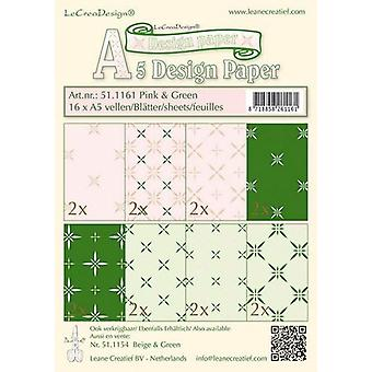 LeCrea - Design paper assortment pink/green 16xA5 16 vellen 51.1161