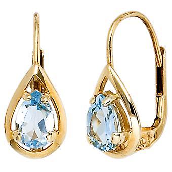 Boutons Drop 333 Gold Yellow Gold 2 Blue Topaze Light Blue Earrings Earrings Earrings