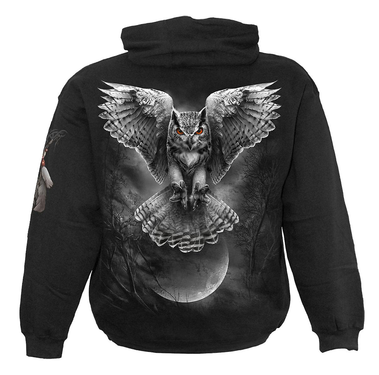 Spiral Direct Gothic WINGS OF WISDOM - Hoody Black Owl Fashion Moon Forest