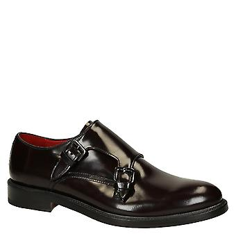 Burgundy calf leather men's double monkstrap loafers shoes