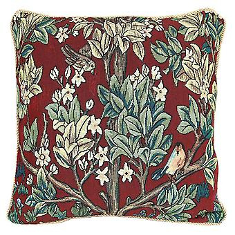 William Morris elämän puu - punainen tyynynpäällinen | taidetyynyt 18x18 cm | Kävi koulua ccov-art-morris-3