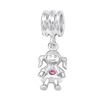 Girl - 925 Sterling Silver Jewelled Beads - W28908x