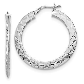 925 Sterling Sølv poleret og Sparkle Cut Hoop Øreringe smykker gaver til kvinder - 3,1 Gram