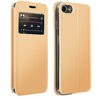 Window flip case, flip wallet case with stand for iPhone 7 / 8 / SE 2020 – Gold