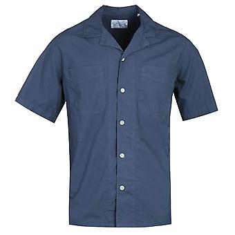 Albam Revire Collar Navy Short Sleeve Camicia