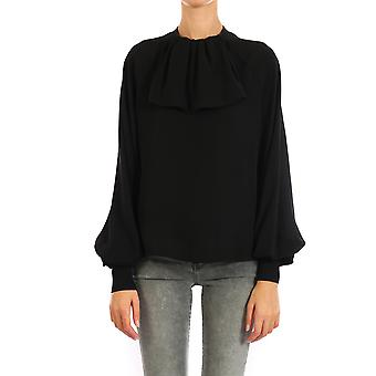 Loewe D2299173tm1100 Women's Black Silk Blouse