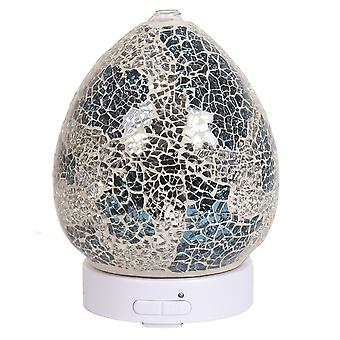 Aroma Mosaic LED Ultrasonic Electric Oil Diffuser Aromatherapy Blue & Silver