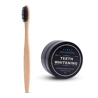 Teeth Whitening Bamboo Charcoal Powder + Soft Bristle Wooden Tooth Brush