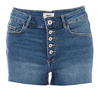Women's Only Hush Button Denim Shorts in Blue