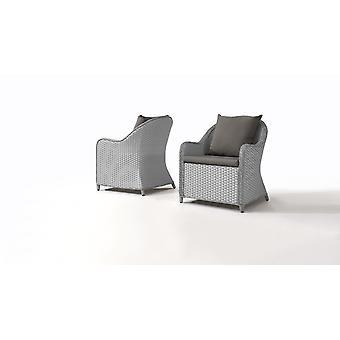 Polyrattan stolička casu, 2 ks - šedý satén