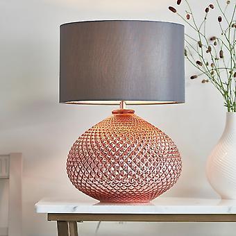 Iluminação Endon Livia Lâmpada de mesa de cobre com sombra cinza
