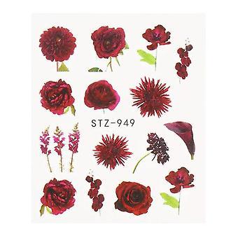 Čierna kvetinová nechty Voda Transfer Nechtové samolepky s kvetinami listy