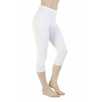 Ladies Plain Stretchy Cropped Capri 3/4 Length Leggings Pants Size 8-24