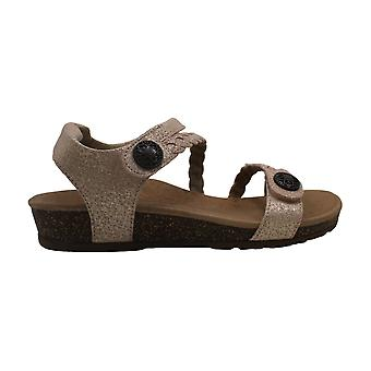 Aetrex Womens Jillian Leather Open Toe Casual Slide Sandals