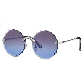 النظارات الشمسية السيدات جولة القط بلا حواف. 2 الذهب / الأزرق