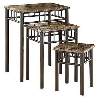 CAPPUCCINO MARBLE / BRONZE METAL 3PCS NESTING TABLE SET