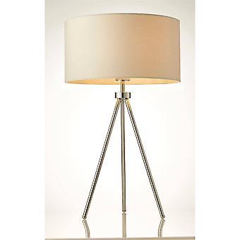 Endon Tri - 1 lámpara de mesa ligera Chrome, efecto de lino marfil, E27