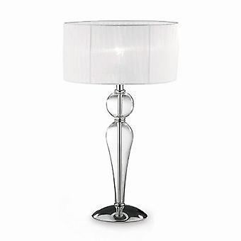 1 lichte grote tafellamp chroom, wit, helder en glas met schaduw, E27