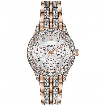 Bulova 98n113 Crystal Rose Gold Stainless Steel Ladies Watch