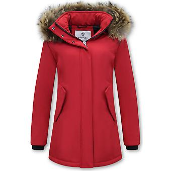 Winter Coat With Real Fur Collar - Slim Fit - Red