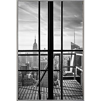 JUNIQE Print -  Window To The World - New York Poster in Schwarz