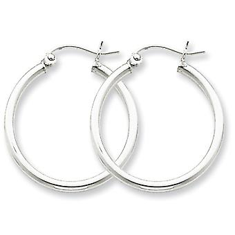 925 Sterling Silver Polished Hinged post Rhodium-plated 2mm Round Hoop Earrings - 1.9 Grams