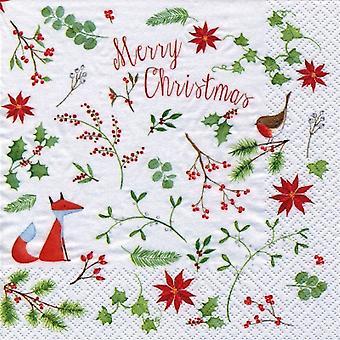Fox & Robin Christmas Party Paper Napkins X20