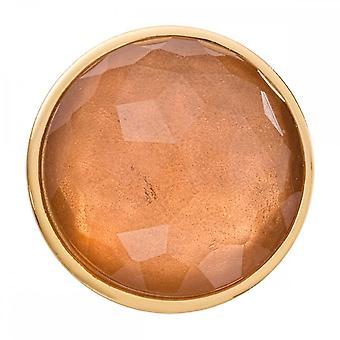 Nikki Lissoni Peach Brown Optical Glass Medium Gold Plated Coin C1545GM