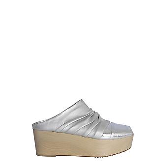 Rick Owens Rp19s6825lcom18181802 Women's Silver Leather Slippers