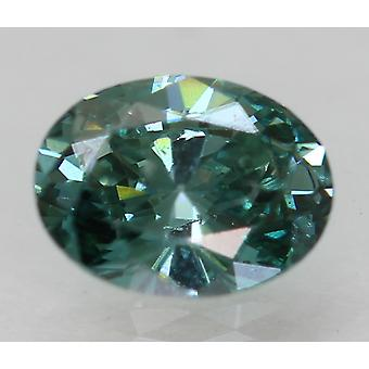 Cert 0,31 Karat blau grün VS2 Oval Enhanced Natural Diamond 5.14x3.91mm