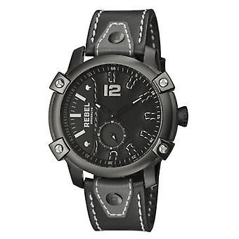 Rebel Men-apos;s RB121-6071 Weeksville Black IP Steel Black Leather Montre-bracelet