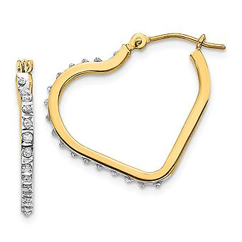 14k Yellow Gold Polished Diamond Fascination Love Heart Hinged Hoop Earrings Measures 21x2mm Jewelry Gifts for Women