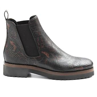 Luca Grossi Brown Python Print Leather Ankle Boot