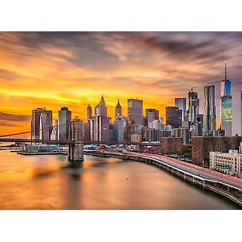 Behang muurschildering Manhattan Skyline Sunset