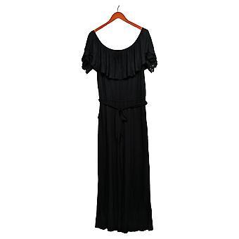 Colleen Lopez Petite Jumpsuits Off-the-Shoulder W/ Lace Detail Black 696-397