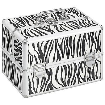 vidaXL cosmetic case 22x30x21 cm zebra stripe aluminum