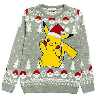 Pokemon Pikachu Santa Hat Joulu Miehet's Neulottu pusero | Viralliset kauppatavarat